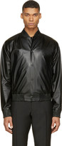 Calvin Klein Collection Black Leather Bomber Jacket