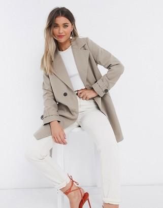 Vero Moda double breasted trench coat with tie belt in beige