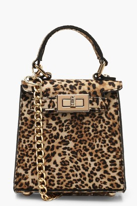 boohoo Suedette Leopard Mini Lock Grab Bag