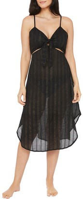 La Blanca Lurex Stripe Cutout Front Tie Dress