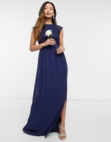Thumbnail for your product : TFNC bridesmaid lace open back maxi dress in navy