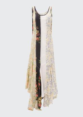 J.W.Anderson Asymmetric Floral Patchwork Maxi Dress