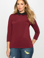 ELOQUII Plus Size Knit Collared Tee