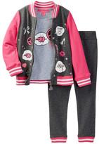 Betsey Johnson French Terry Varsity Jacket, Tee, & Pant Set (Little Girls)