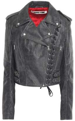 McQ Lace-up Cracked-leather Biker Jacket