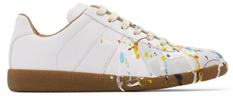 Maison Margiela White and Grey Paint Drop Replica Sneakers
