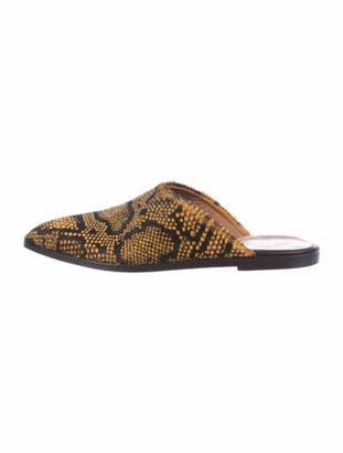 ATP ATELIER Ponyhair Animal Print Mules Yellow