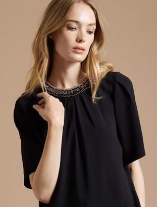Halston Flowy Short Sleeve Embellished Silk Top