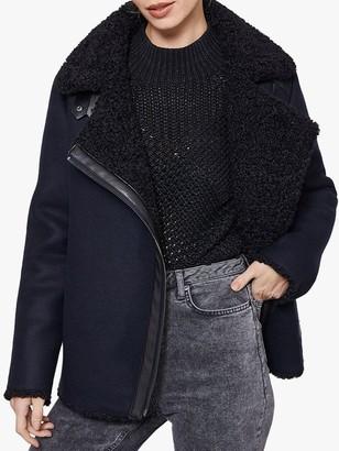 Mint Velvet Faux Fur Lined Aviator Coat, Dark Blue