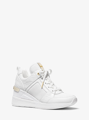 MICHAEL Michael Kors MK Georgie Crocodile-Embossed Leather and Canvas Trainer - Optic White - Michael Kors