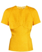 Emilia Wickstead Daisy cut-out chevron-matelassé top