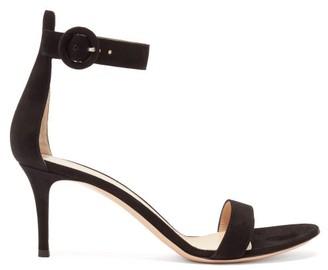 Gianvito Rossi Portofino 70 Ankle Strap Suede Sandals - Womens - Black