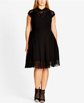 City Chic Plus Size High-Neck Illusion Fit & Flare Dress