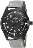 Alpina Men's 'Startimer' Swiss Quartz Stainless Steel and Nylon Casual Watch, Color:Black (Model: AL-240B4FBS6)