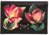 Dolce & Gabbana Floral Embossed Leather Card Holder