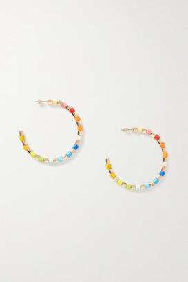 Roxanne Assoulin U-tube Gold-tone And Enamel Hoop Earrings