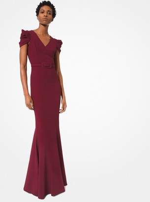 Michael Kors Stretch-Cady Belted Trumpet Gown