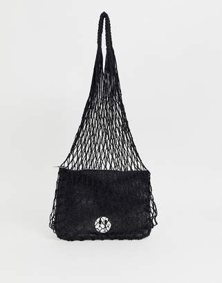 Hill & Friends Hill and Friends Happy string shopper with leather pouch in black