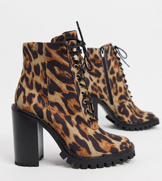 ASOS DESIGN Wide Fit Bobbie lace up heeled boots in leopard