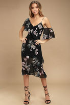 Keepsake Cosmic Girl Black Floral Print Midi Dress