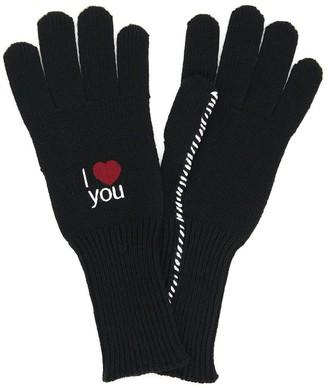 Raf Simons WOOL GLOVES I LOVE YOU M Black Wool
