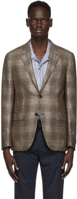 Ermenegildo Zegna Grey Silk and Cashmere Check Blazer