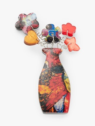 One Button Resin Flower and Vase Brooch, Multi