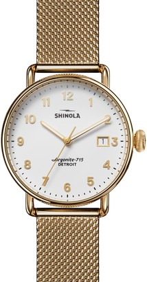 Shinola The Canfield Mesh Strap Watch, 38mm