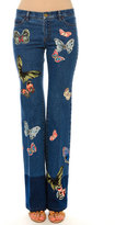 Valentino Mid-Rise Butterfly-Embroidered Jeans, Blue