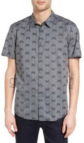 John Varvatos Men's Mayfield Slim Fit Butterfly Print Sport Shirt