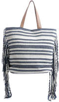 Magid Side Fringe Blue Striped Tote Bag