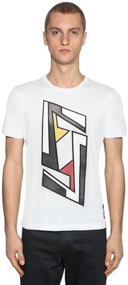Fendi FUTURISTIC LOGO COTTON JERSEY T-SHIRT