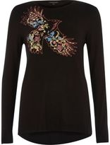 River Island Womens Black floral bird print long sleeve T-shirt