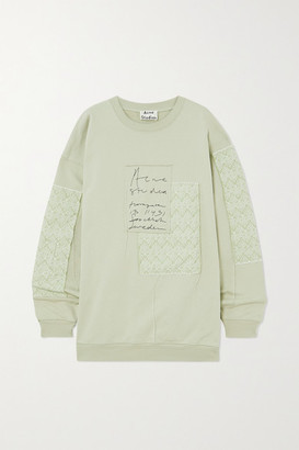 Acne Studios + Net Sustain Oversized Patchwork Organic Cotton-jersey And Jacquard Sweatshirt - Mint