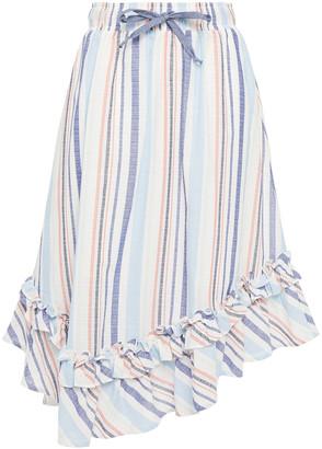 Clu Asymmetric Striped Cotton Skirt