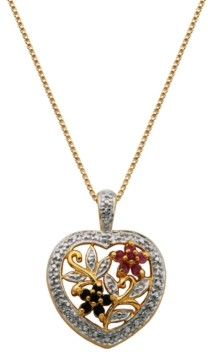 PRIME ART & JEWEL Multi-Gemstone (1/5 ct. t.w.) Heart Pendant in 18k Yellow Gold Over Sterling Silver