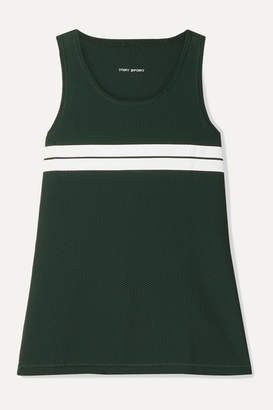 Tory Sport Striped Stretch-mesh Tank - Forest green