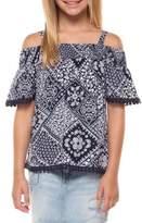 Dex Girl's Printed Cold-Shoulder Top