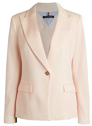 Tommy Hilfiger Elbow-Patch Single Button Blazer