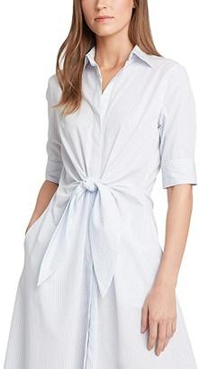 Lauren Ralph Lauren Striped Cotton Shirtdress (Blue/White) Women's Clothing