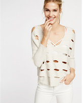 Express ivory perforated wedge pullover sweater