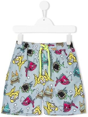 Stella McCartney Kids Fish Print Swimming Shorts