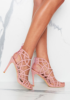 Missy Empire Lotus Pink Suede Laser Cut Lace Up Heels