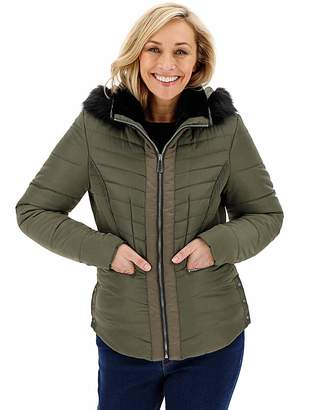 Capsule Khaki Hooded Faux Fur Collar Padded Coat