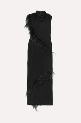 Christopher Kane Feather-trimmed Crepe Gown - Black