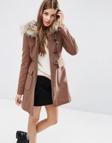 Asos Wool Blend Faux Fur Hooded Duffle Coat