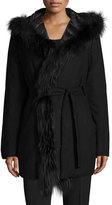 Fleurette Reversible Wool-Blend Coat W/ Fur Trim