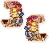 Suzanne Kalan 18k Mini Thick Huggie Sapphire & Diamond Fireworks Hoop Earrings