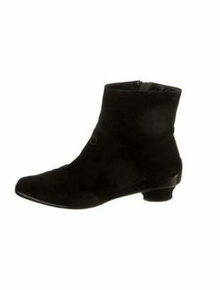 Salvatore Ferragamo Suede Embroidered Accent Boots Black