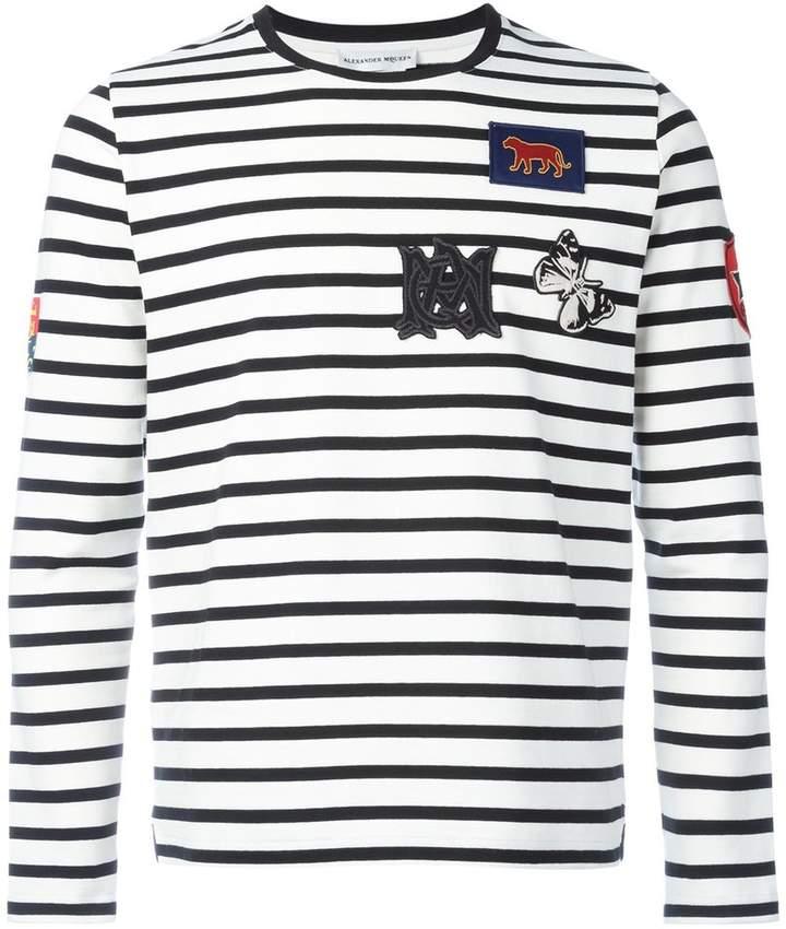 Alexander McQueen badge appliqué striped top